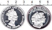 Изображение Монеты Теркc и Кайкос 5 крон 1997 Серебро Proof