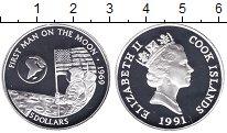 Изображение Монеты Острова Кука 5 долларов 1991 Серебро Proof Первый человек на Лу