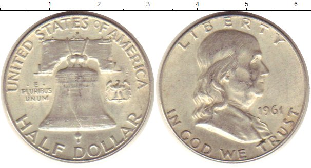 Картинка Монеты США 1/2 доллара Серебро 1961