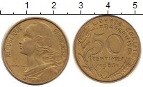 Изображение Монеты Франция 50 сантимов 1963 Латунь XF