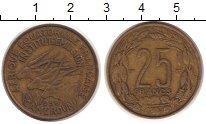 Изображение Монеты Камерун 25 франков 1958 Латунь XF Антилопы.