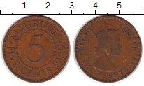 Изображение Монеты Маврикий 5 центов 1959 Бронза XF