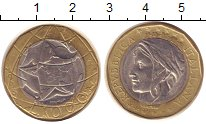 Изображение Монеты Италия 1000 лир 1998 Биметалл XF