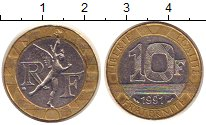 Изображение Монеты Франция 10 франков 1991 Биметалл XF