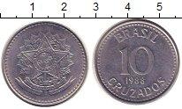 Изображение Монеты Бразилия 10 крузейро 1988 Сталь XF
