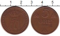 Изображение Монеты Норвегия 5 эре 1951 Бронза VF номинал - Монограмма