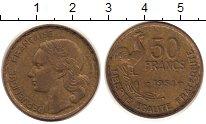 Изображение Монеты Франция 50 франков 1951 Латунь XF Галльский  петух.