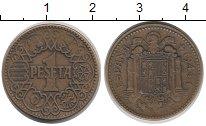 Изображение Монеты Испания 1 песета 1944 Латунь XF-