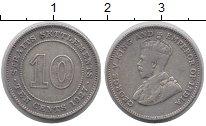 Изображение Монеты Стрейтс-Сеттльмент 10 центов 1927 Медно-никель XF