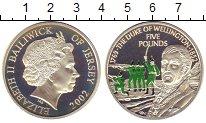 Изображение Монеты Остров Джерси 5 фунтов 2002 Серебро Proof Елизавета II.  Герцо