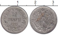 Изображение Монеты 1894 – 1917 Николай II 25 пенни 1913 Серебро