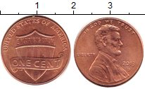 Изображение Дешевые монеты США 1 цент 2013 Латунь-сталь XF+