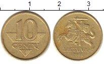 Изображение Дешевые монеты Литва 10 сенти 2007 Латунь XF