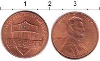 Изображение Дешевые монеты США 1 цент 2011 сталь с медным покрытием XF+