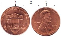 Изображение Дешевые монеты США 1 цент 2013 сталь с медным покрытием XF+