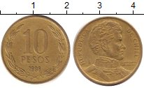 Изображение Дешевые монеты Чили 10 песо 1998 Латунь XF