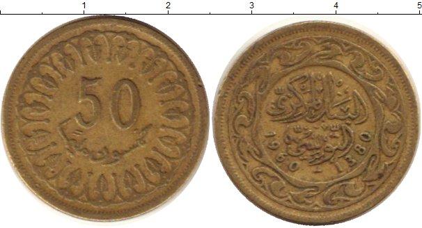 Картинка Дешевые монеты Тунис 50 миллим Латунь 1960