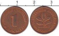 Изображение Дешевые монеты ФРГ 1 пфенниг 1986 Медь XF+
