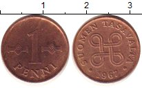 Изображение Барахолка Финляндия 1 пенни 1967 Медь XF
