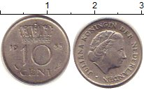 Изображение Дешевые монеты Нидерланды 10 центов 1955 Медно-никель XF