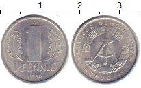 Изображение Дешевые монеты ГДР 1 пфенниг 1980 Алюминий XF