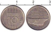 Изображение Барахолка Нидерланды 10 центов 1984 Медно-никель XF