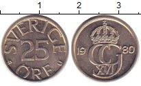 Изображение Дешевые монеты Швеция 25 эре 1980 Медно-никель UNC-