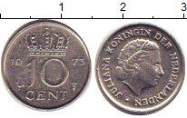 Изображение Барахолка Нидерланды 10 центов 1973 Медно-никель XF Королева Юлиана