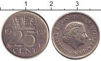 Изображение Дешевые монеты Нидерланды 25 центов 1969 Медно-никель VG