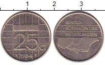 Изображение Дешевые монеты Нидерланды 25 центов 1984 Медно-никель XF-
