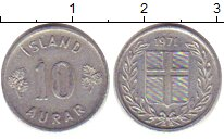 Изображение Дешевые монеты Исландия 10 аурар 1971 Алюминий VF