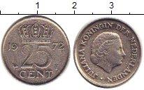 Изображение Дешевые монеты Нидерланды 25 центов 1972 Медно-никель VF-