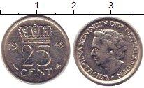Изображение Барахолка Нидерланды 25 центов 1948 Медно-никель XF-