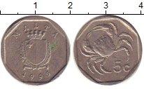 Изображение Дешевые монеты Мальта 5 центов 1995 Медно-никель VF