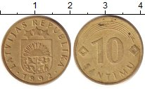 Изображение Барахолка Латвия 10 сантим 1992 Медно-никель XF