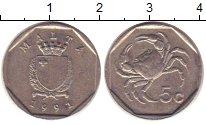 Изображение Дешевые монеты Мальта 5 центов 1991 Медно-никель VF
