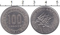Изображение Монеты Конго 100 франков 1971 Медно-никель UNC- Антилопы
