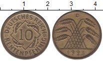 Изображение Монеты Веймарская республика 10 пфеннигов 1923 Латунь XF D