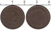 Изображение Монеты Веймарская республика 2 пфеннига 1923 Бронза XF А