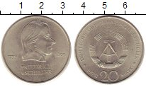Изображение Монеты ГДР 20 марок 1972 Медно-никель UNC- Фридрих  Шиллер