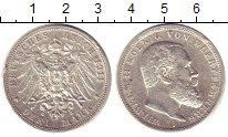 Монета Вюртемберг 3 марки Серебро 1911 XF фото