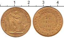 Изображение Монеты Франция 20 франков 1877 Золото XF