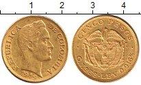 Изображение Монеты Колумбия 5 песо 1919 Золото XF