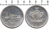 Изображение Монеты Мальта 2 лиры 1972 Серебро UNC- Крепость