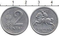 Изображение Дешевые монеты Литва 2 цента 1991 Алюминий XF Всадник