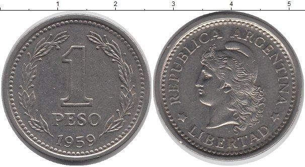 Картинка Дешевые монеты Аргентина 1 песо медь, олово, цинк 1959