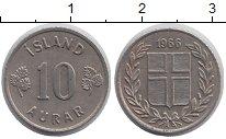 Изображение Барахолка Исландия 10 аурар 1966 Медно-никель XF