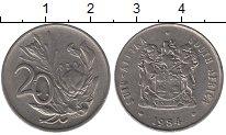 Изображение Дешевые монеты ЮАР 20 центов 1984 Медно-никель XF