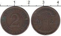 Изображение Дешевые монеты Германия 2 пфеннига 1924 Бронза VF