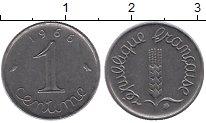 Изображение Дешевые монеты Франция 1 сантим 1966 нержавеющая сталь XF